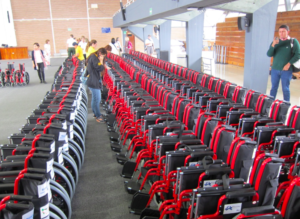 Wheelchairs lined up for delivery